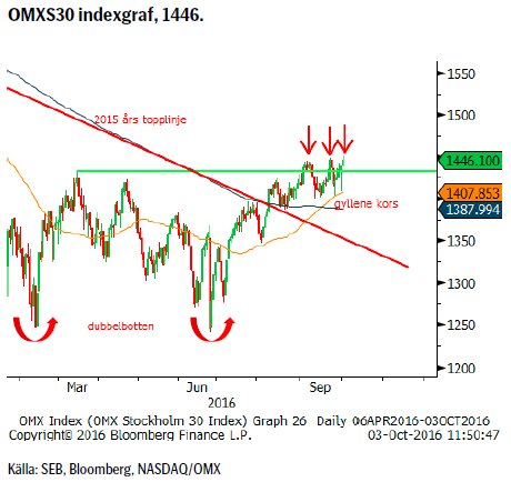 OMXS30 indexgraf, 1446.