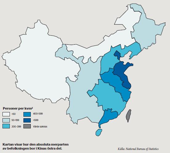Befolkningstäthet i Kina