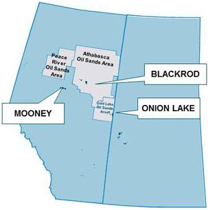 Karta över BlackPearl Resources tillgångar