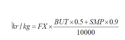Det börsbaserade priset i svenska kronor beräknas med denna formel