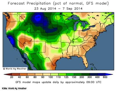 Prognoskartan för nederbörden i USA