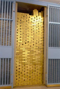 Gold vault with bars