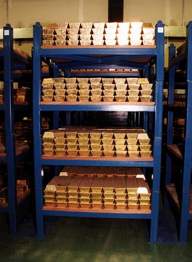 Guld lagras i valv hos Bank of England