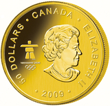 Baksidan på vancouvern, guldmyntet som Kanada gjorde för Olympiska spelen