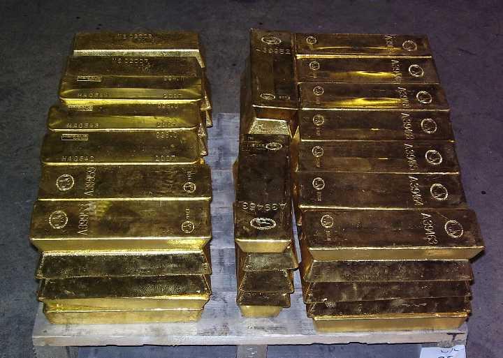 Guldtackor på lastpall