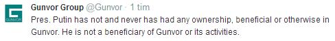 Gunvor Group på Twitter om Putin