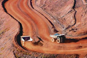 Trucks in iron ore mine
