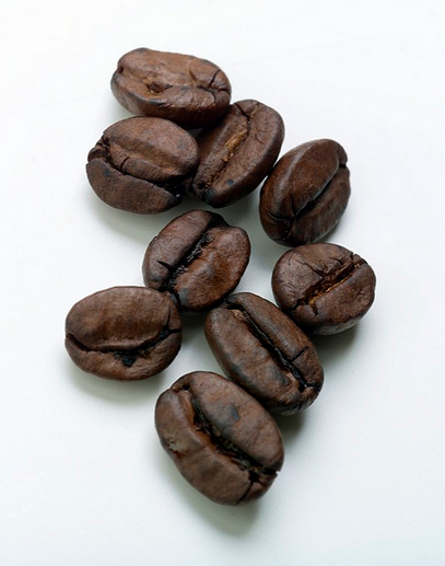 Kaffebönor i närbild
