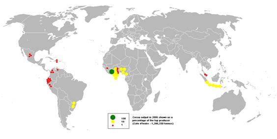 Procentuell fördelning av kakaoproduktion i världen