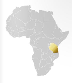 Karta över Afrika där Tanzania är utmärkt