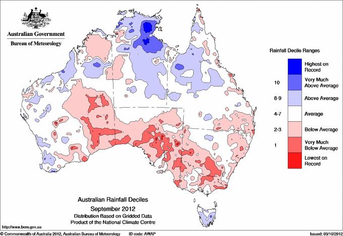 Karta över regn i Australien