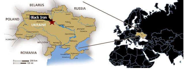 Karta över Black Iron's järnmalmstillgångar i Ukraina