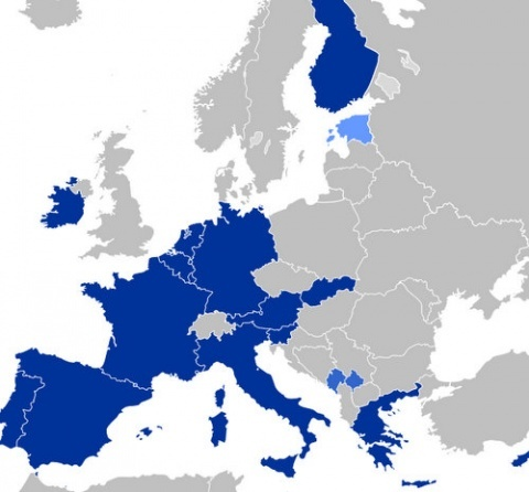 Karta över eurozonen - Europa