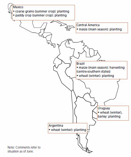 Karta över grödor i Sydamerika och Mellanamerika