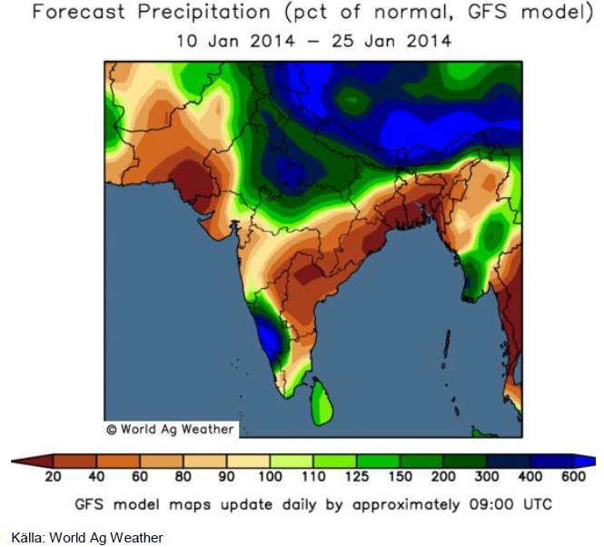 Karta över Indien med väderprognos