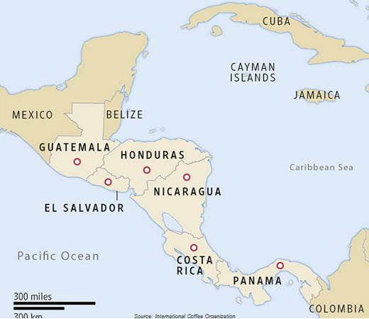 Karta över kaffe-odling i centralamerika
