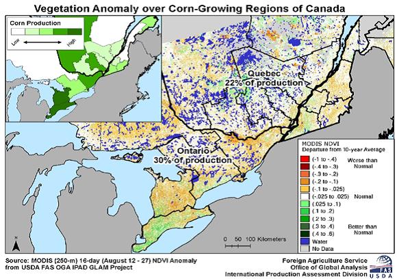 Karta över Kanadas odlingsväder