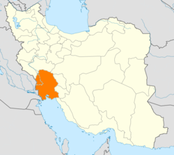 Karta över Khuzestan i Iran