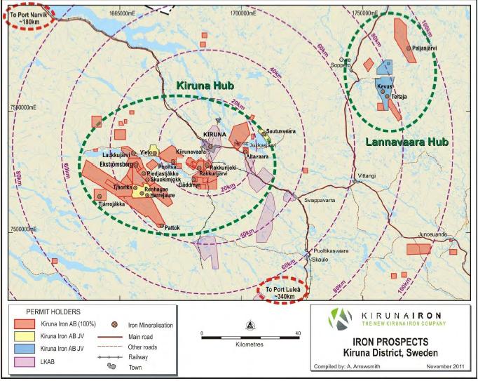 Kiruna Iron - Karta över järnmalmstillgångar