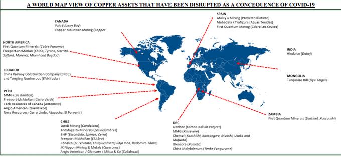 Karta över koppar