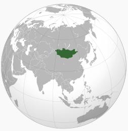 Karta över var Mongoliet är i världen