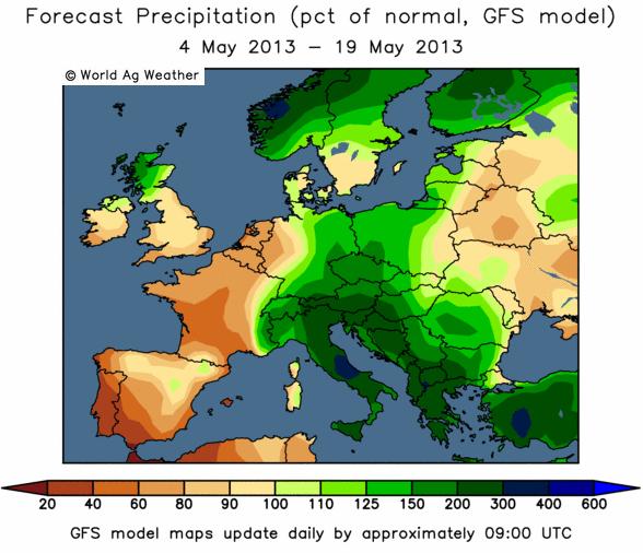 Karta över odlingsväder i Europa