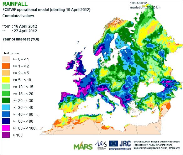 Karta över regn i Europa med start den 19 januari 2012