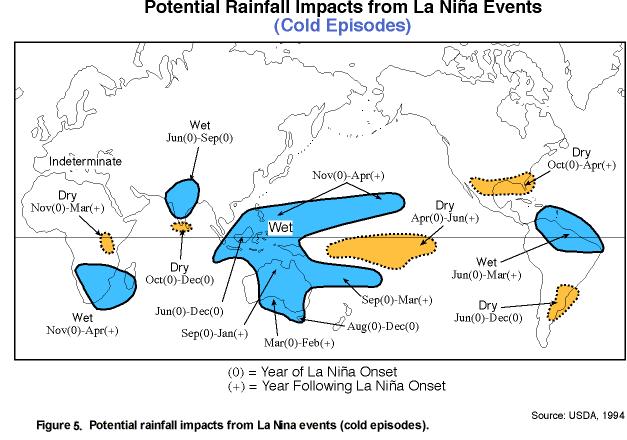 Karta som visar potentiellt regn från La Nina, väderfenomenet