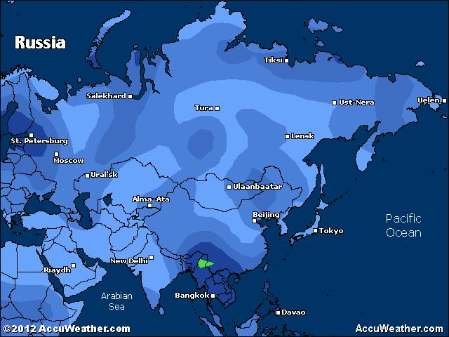 Temperaturer - Karta över Ryssland, Ukraina och norra Kazakstan