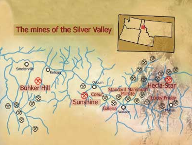 Karta över Silver Valley