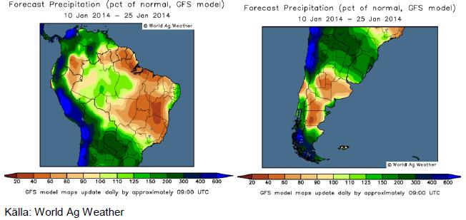 Karta över odlingsväder i Sydamerika