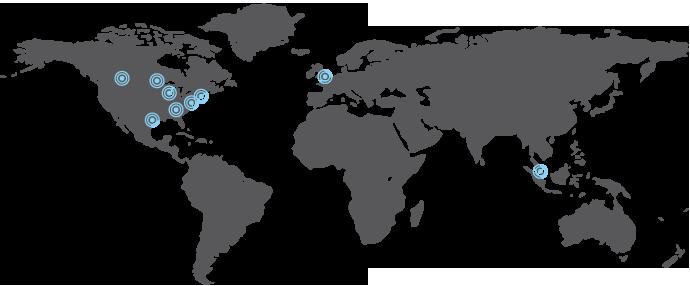 Karta över The ICE kontor i världen