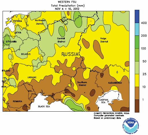 Karta över väder i Ryssland 4-10 november