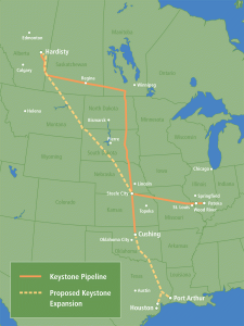 Keystone pipeline - Karta över oljeledningar
