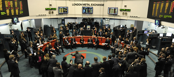 Handelsgolvet på LME, London Metal Exchange