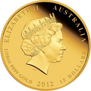 Lunar-mynt i guld med engelska drottningen på ena sidan