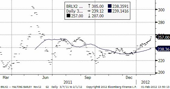 Maltkorn - Diagram över pris den 1 februari 2012