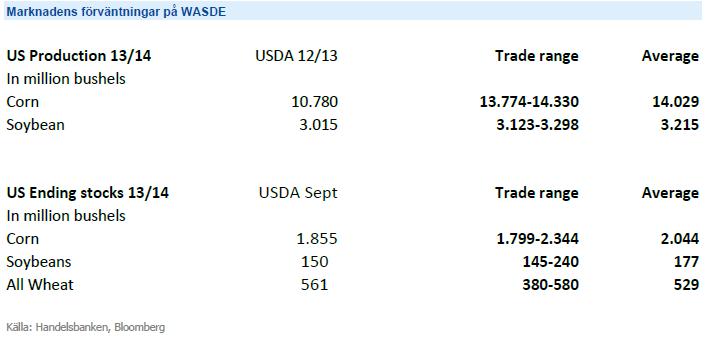 Marknadens förväntningar på WASDE