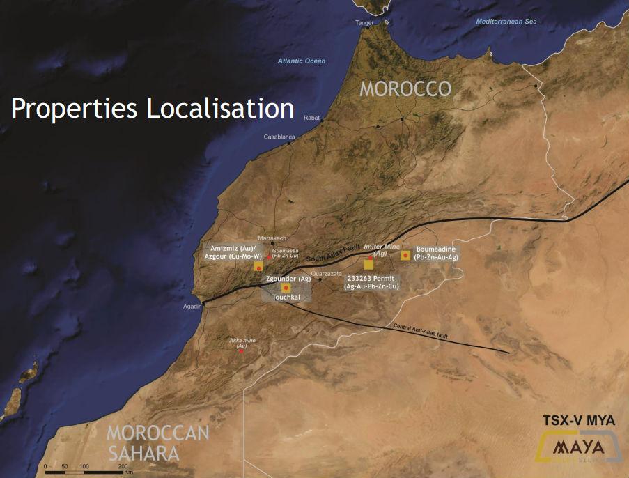 Karta över Maya Gold & Silvers tillgångar i Marocko