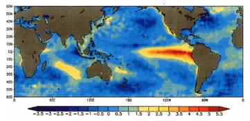 Metrologisk karta som visar de temperaturavvikelser som förekom under El Niño 1997.
