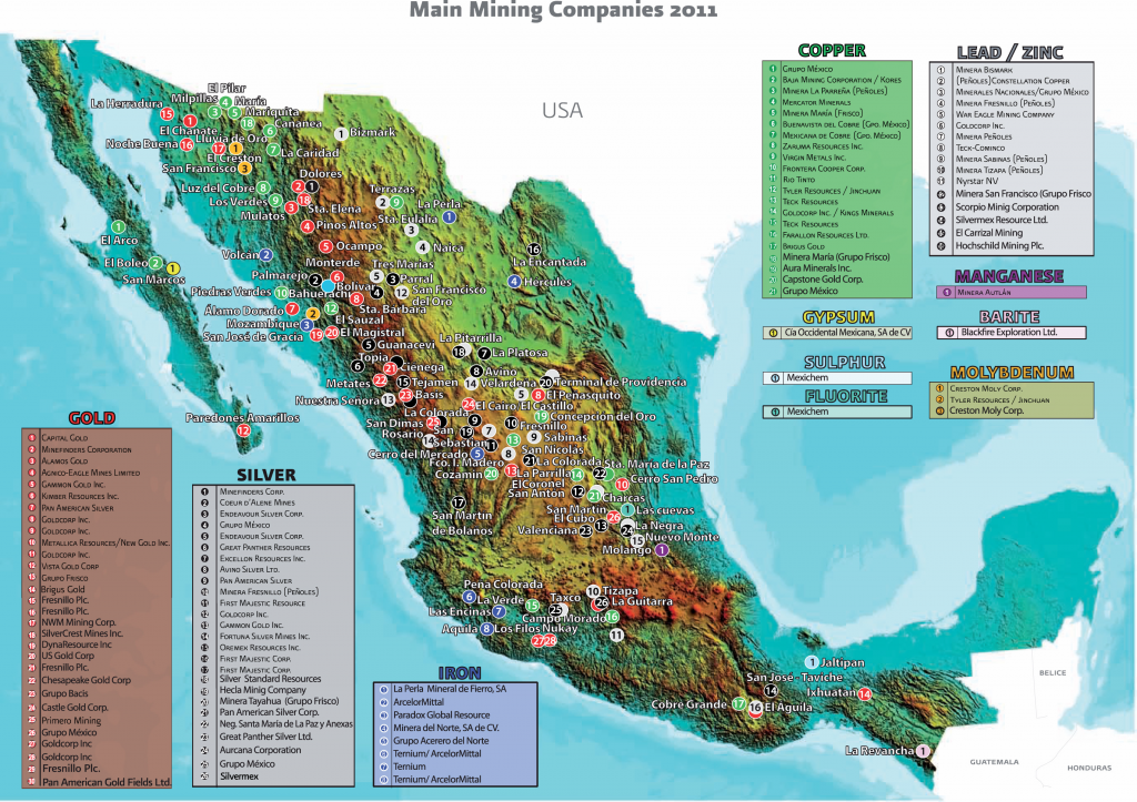 Map of Mexican mining companies - 2011