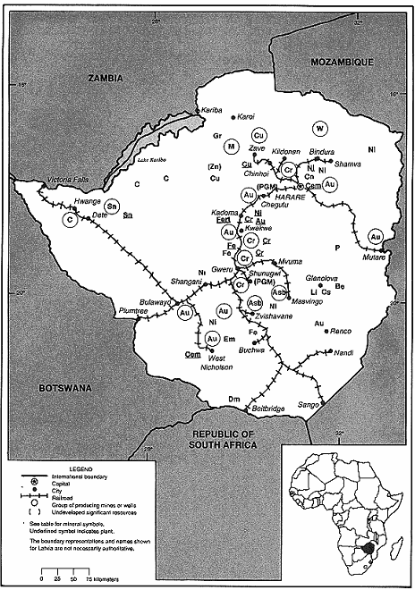 Mining map of Zimbabwe
