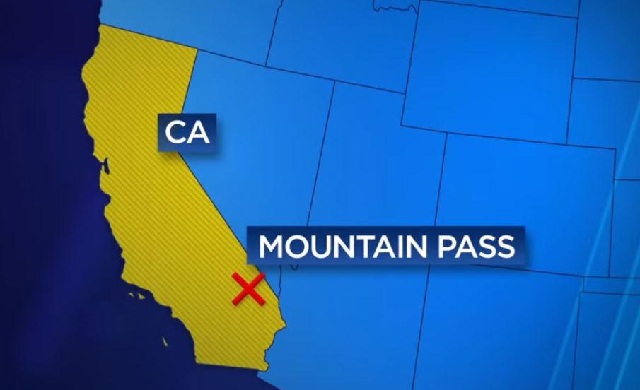 Karta över var Mountain Pass-gruvan finns