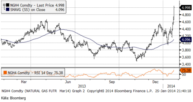 Naturgaspriset har stigit