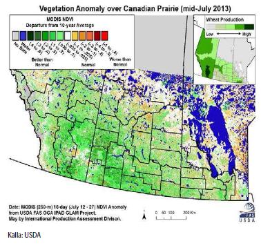 Odling i Kanada, karta