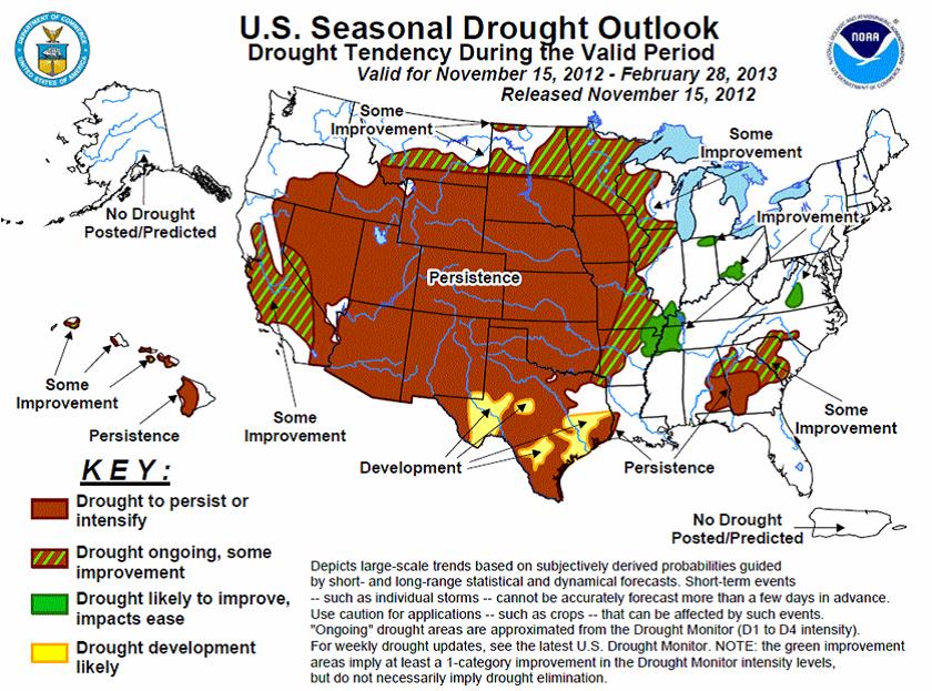 Karta över odlingsväder i USA - 15 november 2012