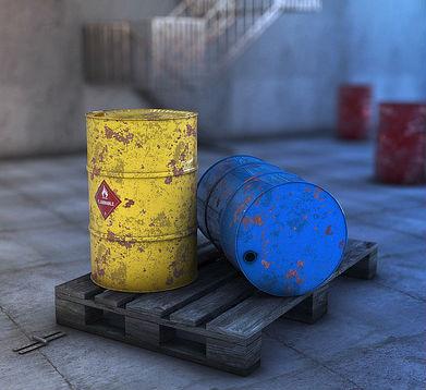 Oljetunnor i gult och blått
