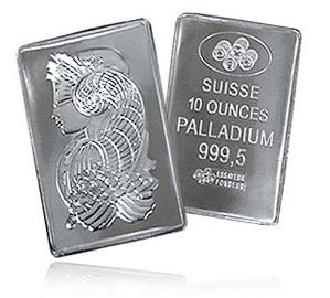 Ädelmetallen palladium 10 Oz med 999,5 renhet