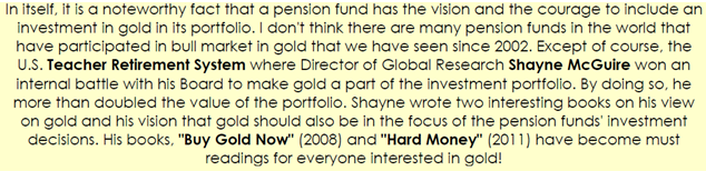 Pension fund and gold