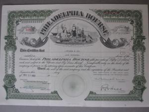 Philadelphia Bourse - Aktiebrev - USAs äldsta råvarubörs